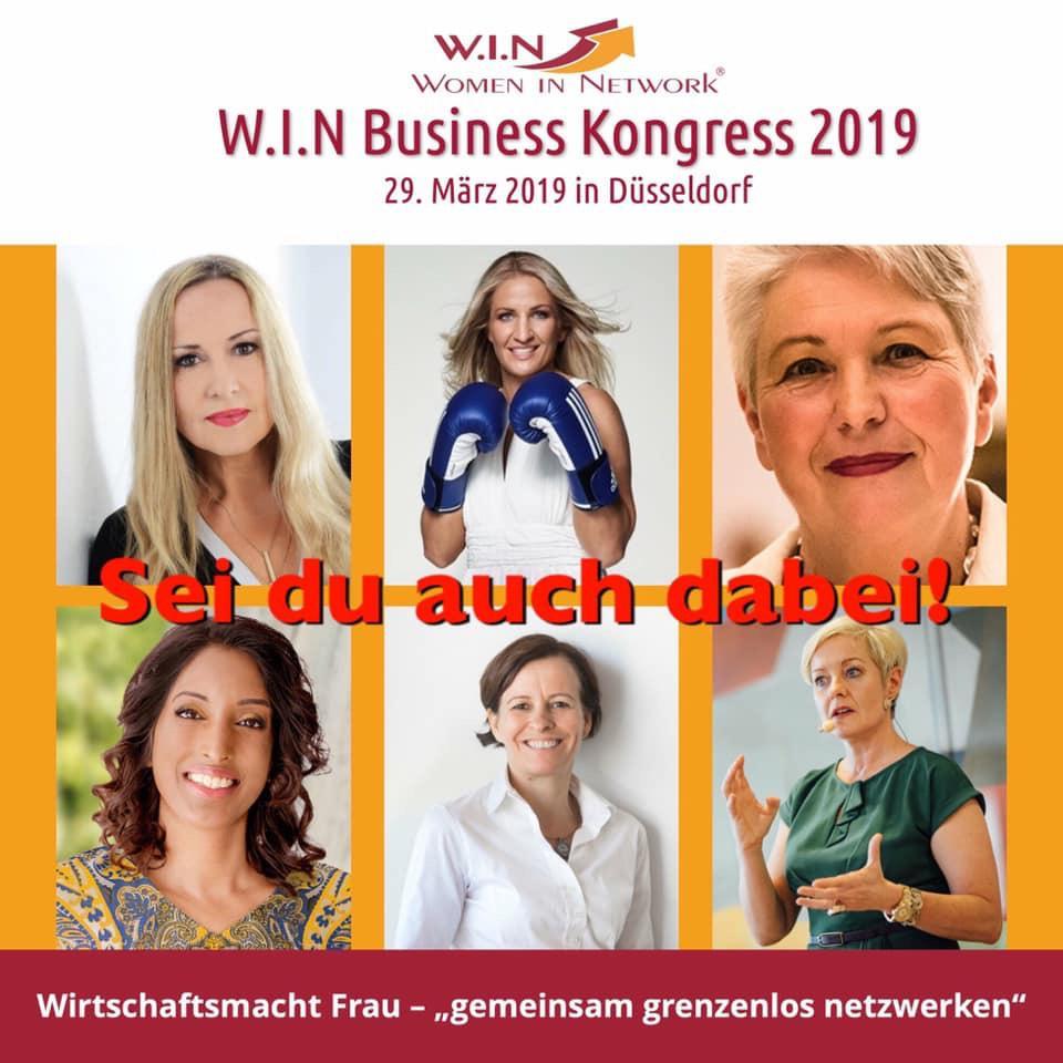 Bild zeigt Foto von Sabina Kocherhans und anderen Sprecherinnen anlässlich der Veranstaltung W.I.N.-Business-Kongress im März 2019