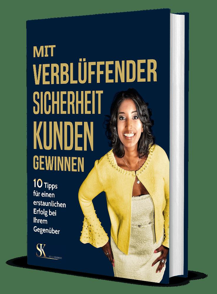"""Bild zeigt ein 3D-Cover des kostenfreien eBooks """"Mit verblüffender Sicherheit Kunden gewinnen"""" von Sabina Kocherhans"""